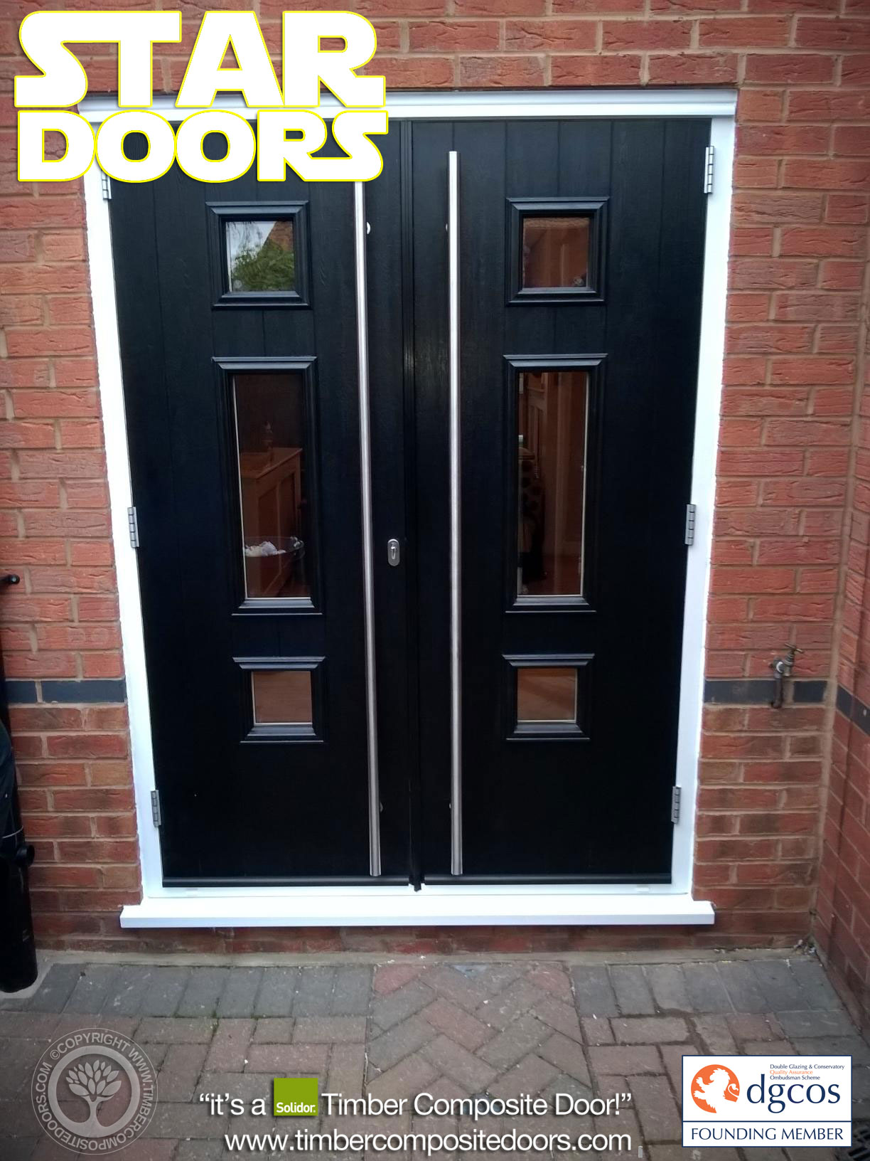 Black genoa solidor timber composite french doors composite door prices for Composite french doors exterior