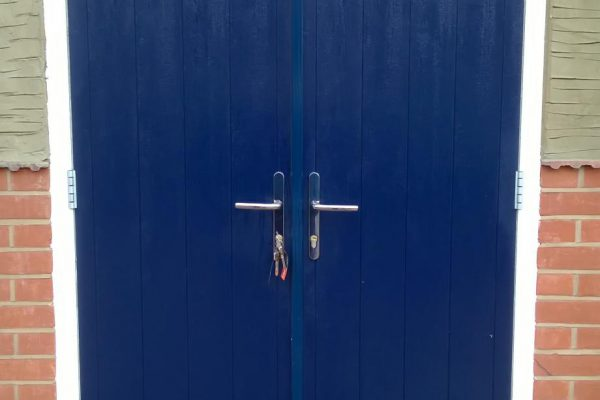 Blue Flint Solid French Doors